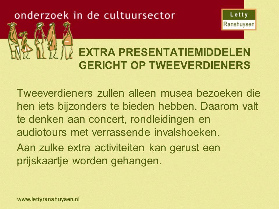 www.lettyranshuysen.nl EXTRA PRESENTATIEMIDDELEN GERICHT OP TWEEVERDIENERS Tweeverdieners zullen alleen musea bezoeken die hen iets bijzonders te bieden hebben.