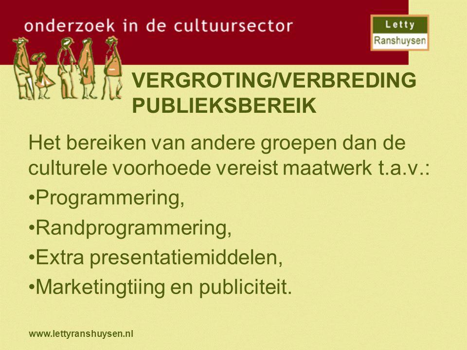 www.lettyranshuysen.nl VERGROTING/VERBREDING PUBLIEKSBEREIK Het bereiken van andere groepen dan de culturele voorhoede vereist maatwerk t.a.v.: Programmering, Randprogrammering, Extra presentatiemiddelen, Marketingtiing en publiciteit.