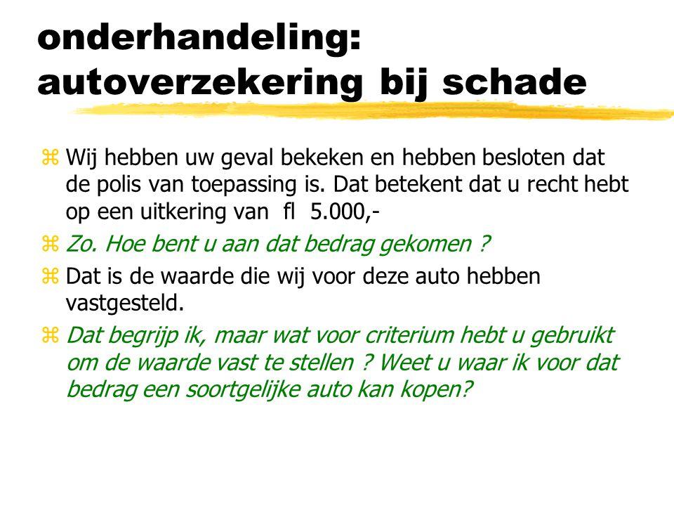 onderhandeling: autoverzekering bij schade zWij hebben uw geval bekeken en hebben besloten dat de polis van toepassing is. Dat betekent dat u recht he