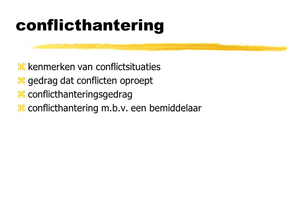 conflicthantering zkenmerken van conflictsituaties zgedrag dat conflicten oproept zconflicthanteringsgedrag zconflicthantering m.b.v. een bemiddelaar