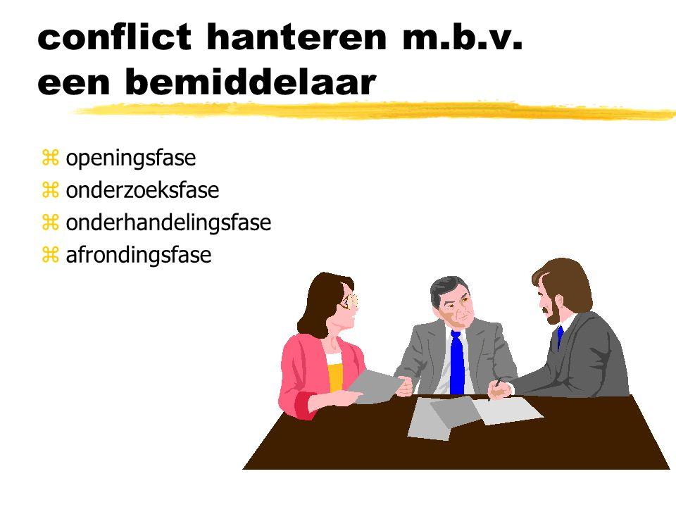 conflict hanteren m.b.v. een bemiddelaar zopeningsfase zonderzoeksfase zonderhandelingsfase zafrondingsfase
