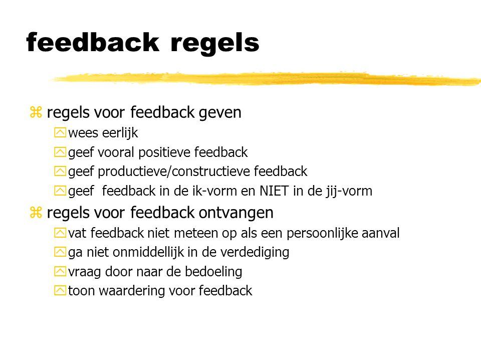feedback regels zregels voor feedback geven ywees eerlijk ygeef vooral positieve feedback ygeef productieve/constructieve feedback ygeef feedback in de ik-vorm en NIET in de jij-vorm zregels voor feedback ontvangen yvat feedback niet meteen op als een persoonlijke aanval yga niet onmiddellijk in de verdediging yvraag door naar de bedoeling ytoon waardering voor feedback