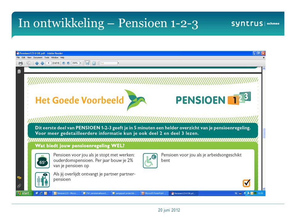 20 juni 2012 In ontwikkeling – Pensioen 1-2-3