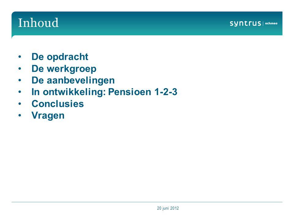 20 juni 2012 Inhoud De opdracht De werkgroep De aanbevelingen In ontwikkeling: Pensioen 1-2-3 Conclusies Vragen