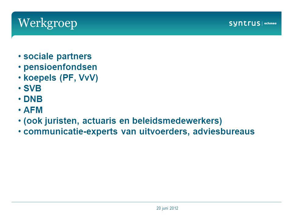 20 juni 2012 Werkgroep sociale partners pensioenfondsen koepels (PF, VvV) SVB DNB AFM (ook juristen, actuaris en beleidsmedewerkers) communicatie-experts van uitvoerders, adviesbureaus