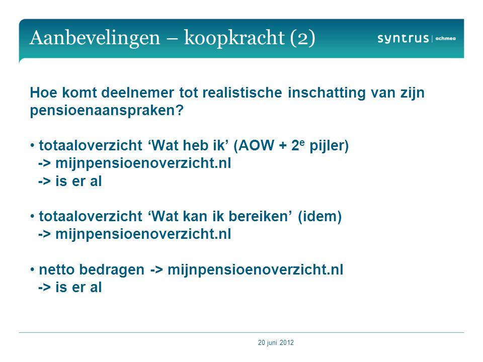 20 juni 2012 Aanbevelingen – koopkracht (2) Hoe komt deelnemer tot realistische inschatting van zijn pensioenaanspraken.