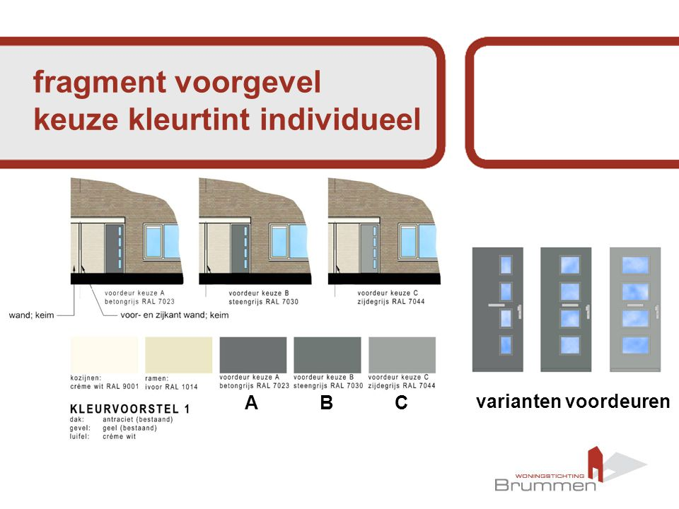 ABC fragment voorgevel keuze kleurtint individueel varianten voordeuren