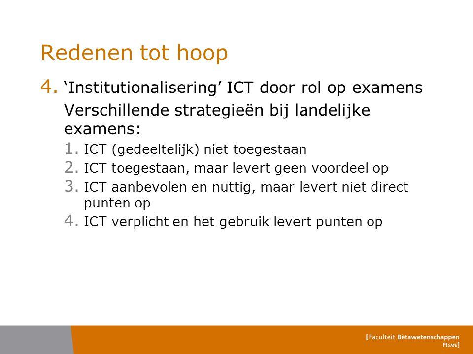 Redenen tot hoop 4. 'Institutionalisering' ICT door rol op examens Verschillende strategieën bij landelijke examens: 1. ICT (gedeeltelijk) niet toeges