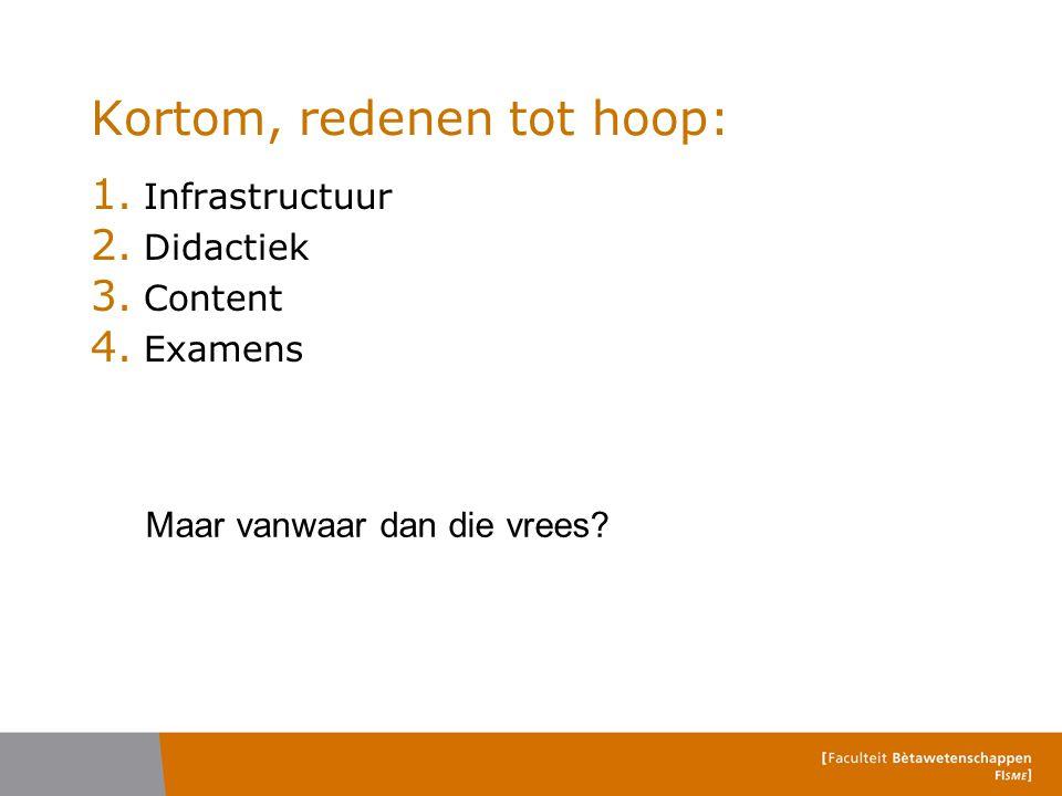 Kortom, redenen tot hoop: 1. Infrastructuur 2. Didactiek 3. Content 4. Examens Maar vanwaar dan die vrees?