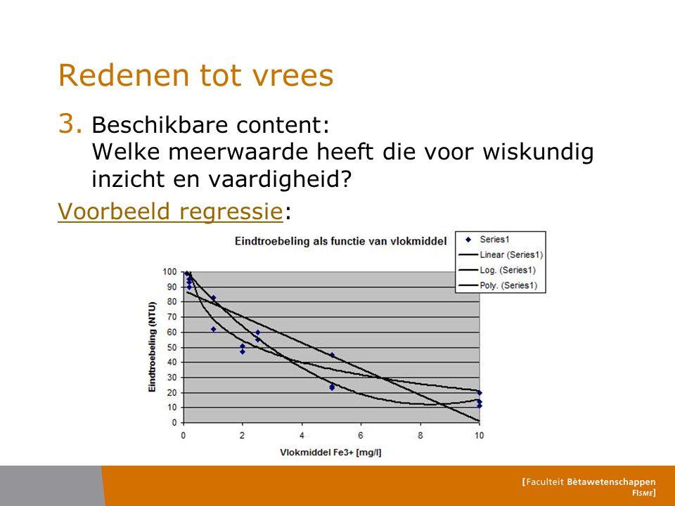 3. Beschikbare content: Welke meerwaarde heeft die voor wiskundig inzicht en vaardigheid? Voorbeeld regressieVoorbeeld regressie: