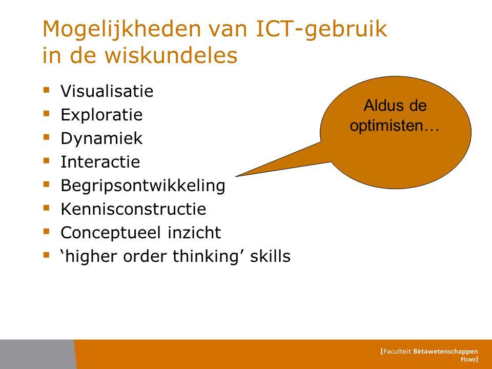 Moeilijkheden van ICT-gebruik in de wiskundeles  Er zijn geen faciliteiten  Er is geen materiaal / inhoud / content  Er wordt niet meer geoefend  Pen-en-papier vaardigheden worden verwaarloosd  'Ze' proberen maar wat met trial-and-error Aldus de pessimisten …
