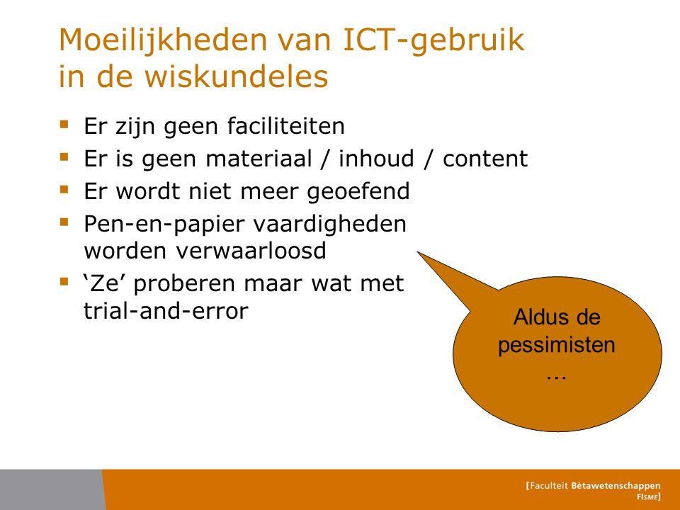 Moeilijkheden van ICT-gebruik in de wiskundeles  Er zijn geen faciliteiten  Er is geen materiaal / inhoud / content  Er wordt niet meer geoefend 