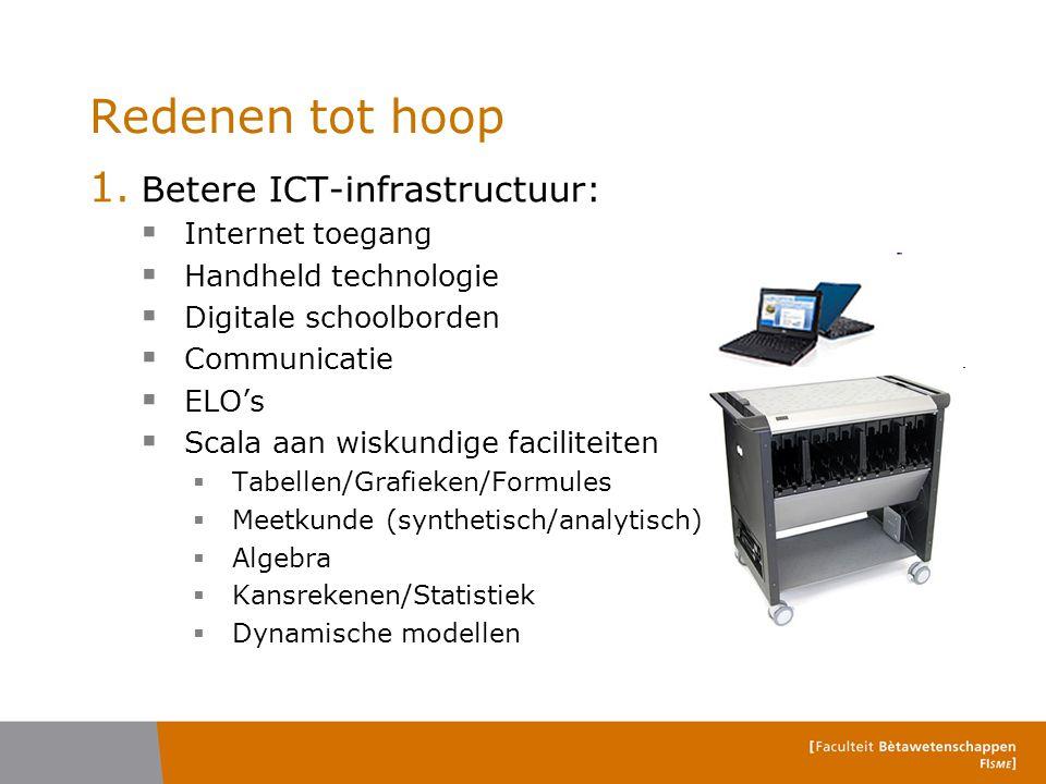 Redenen tot hoop 1. Betere ICT-infrastructuur:  Internet toegang  Handheld technologie  Digitale schoolborden  Communicatie  ELO's  Scala aan wi