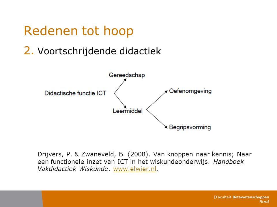 Redenen tot hoop 2. Voortschrijdende didactiek Drijvers, P. & Zwaneveld, B. (2008). Van knoppen naar kennis; Naar een functionele inzet van ICT in het