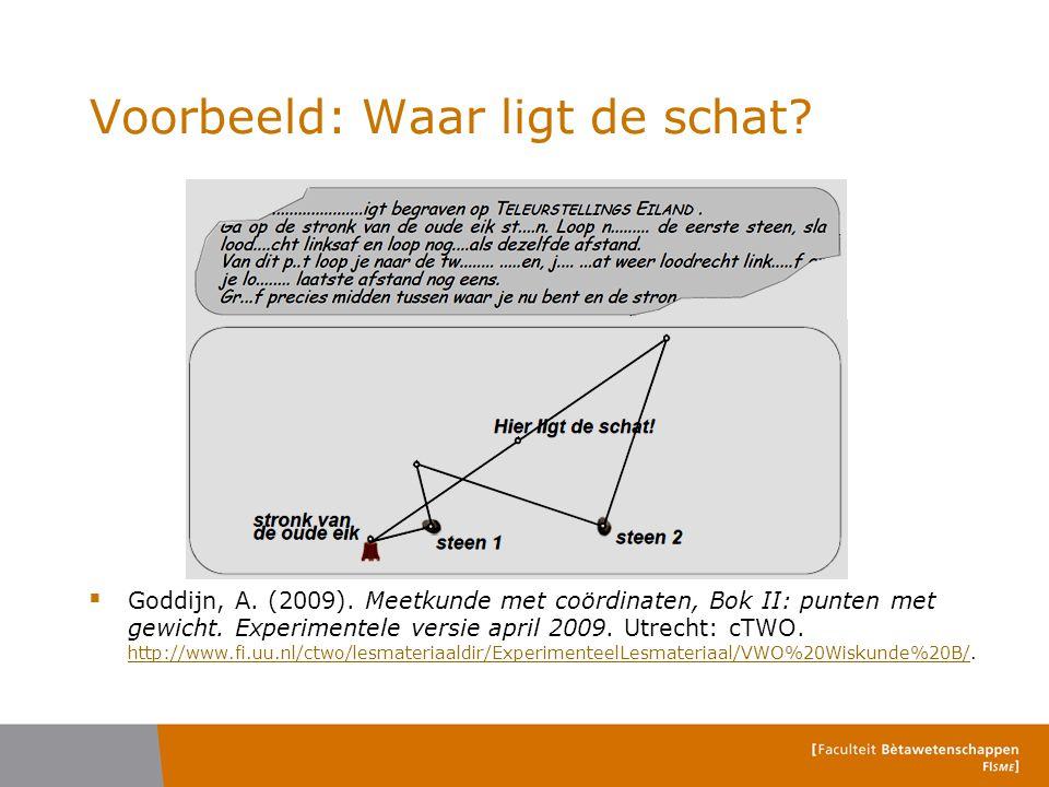 Voorbeeld: Waar ligt de schat?  Goddijn, A. (2009). Meetkunde met coördinaten, Bok II: punten met gewicht. Experimentele versie april 2009. Utrecht: