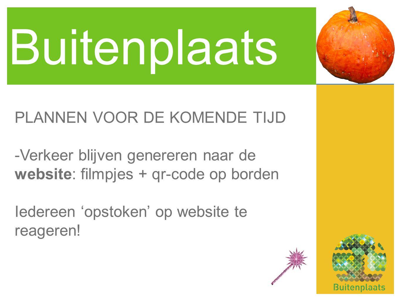 Buitenplaats PLANNEN VOOR DE KOMENDE TIJD -Verkeer blijven genereren naar de website: filmpjes + qr-code op borden Iedereen 'opstoken' op website te reageren!