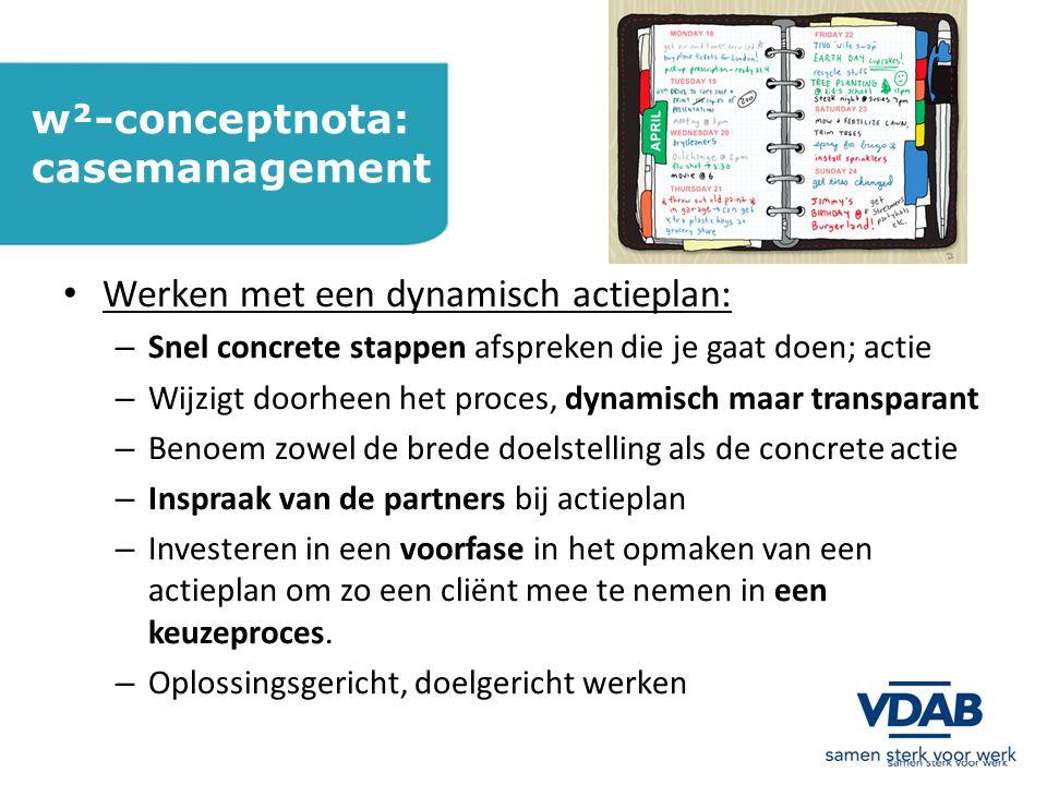 w²-conceptnota: casemanagement Werken met een dynamisch actieplan: – Snel concrete stappen afspreken die je gaat doen; actie – Wijzigt doorheen het proces, dynamisch maar transparant – Benoem zowel de brede doelstelling als de concrete actie – Inspraak van de partners bij actieplan – Investeren in een voorfase in het opmaken van een actieplan om zo een cliënt mee te nemen in een keuzeproces.