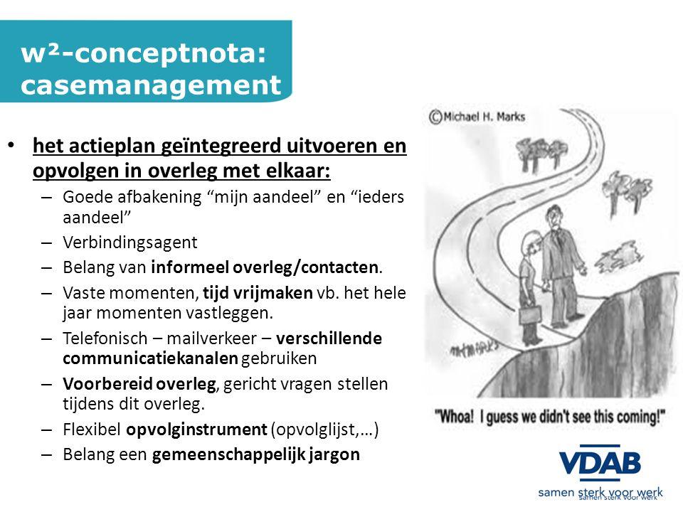 w²-conceptnota: casemanagement het actieplan geïntegreerd uitvoeren en opvolgen in overleg met elkaar: – Goede afbakening mijn aandeel en ieders aandeel – Verbindingsagent – Belang van informeel overleg/contacten.