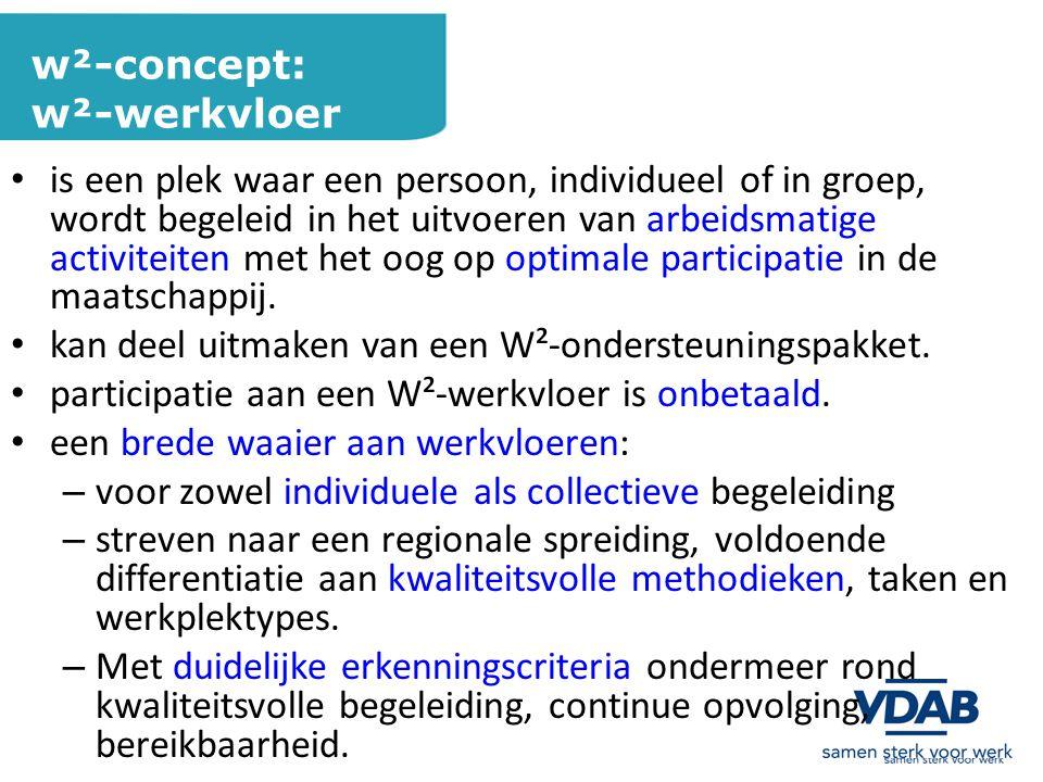 w²-concept: w²-werkvloer is een plek waar een persoon, individueel of in groep, wordt begeleid in het uitvoeren van arbeidsmatige activiteiten met het oog op optimale participatie in de maatschappij.