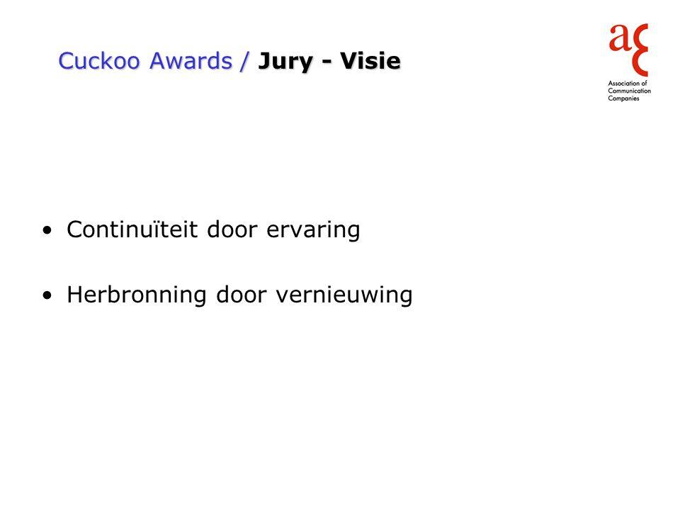 Cuckoo Awards / Jury - Visie Continuïteit door ervaring Herbronning door vernieuwing