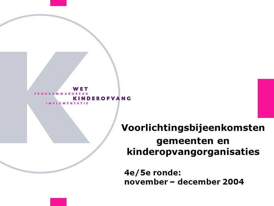 4e/5e ronde: november – december 2004 Voorlichtingsbijeenkomsten gemeenten en kinderopvangorganisaties