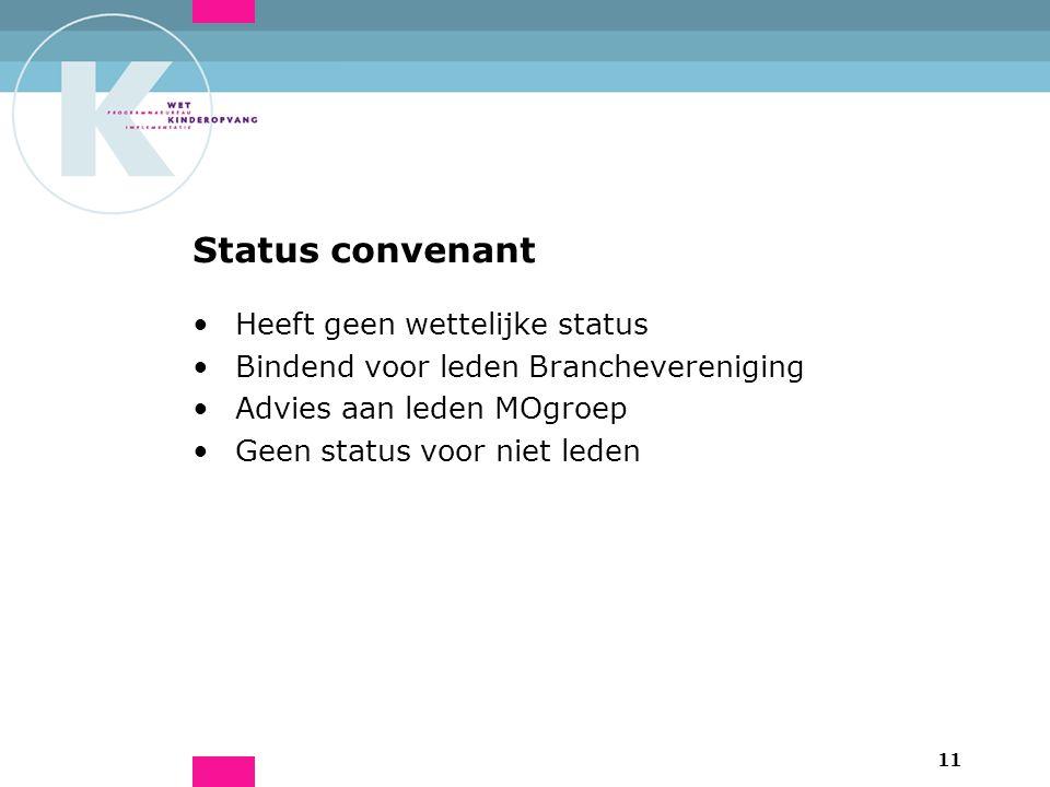 11 Status convenant Heeft geen wettelijke status Bindend voor leden Branchevereniging Advies aan leden MOgroep Geen status voor niet leden