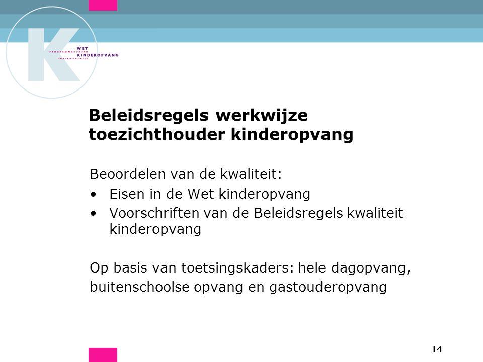 14 Beleidsregels werkwijze toezichthouder kinderopvang Beoordelen van de kwaliteit: Eisen in de Wet kinderopvang Voorschriften van de Beleidsregels kwaliteit kinderopvang Op basis van toetsingskaders: hele dagopvang, buitenschoolse opvang en gastouderopvang
