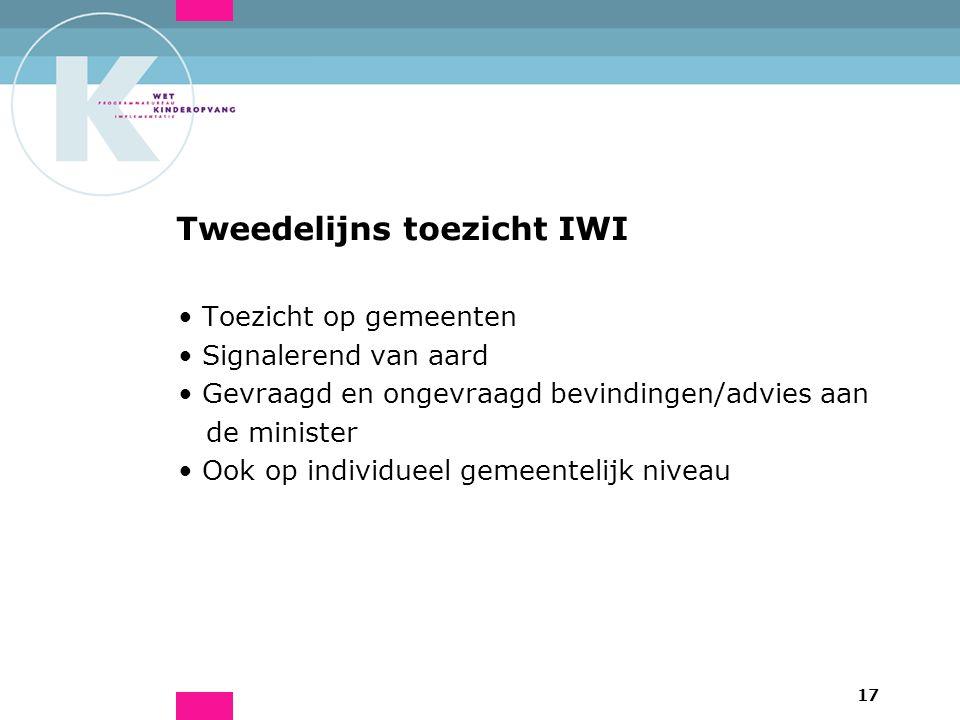 17 Tweedelijns toezicht IWI Toezicht op gemeenten Signalerend van aard Gevraagd en ongevraagd bevindingen/advies aan de minister Ook op individueel ge