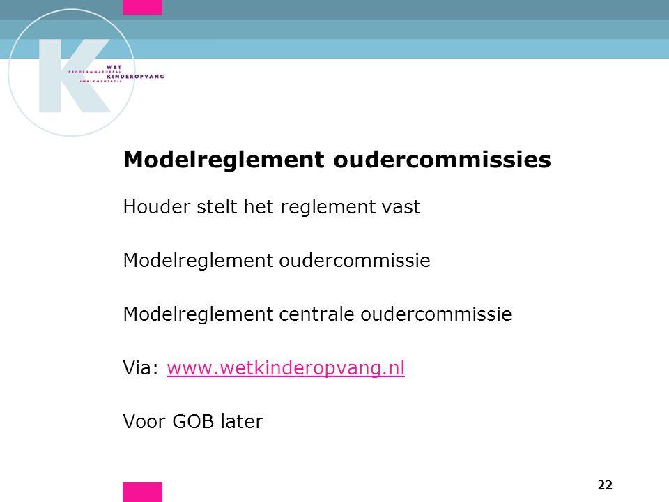 22 Modelreglement oudercommissies Houder stelt het reglement vast Modelreglement oudercommissie Modelreglement centrale oudercommissie Via: www.wetkinderopvang.nlwww.wetkinderopvang.nl Voor GOB later