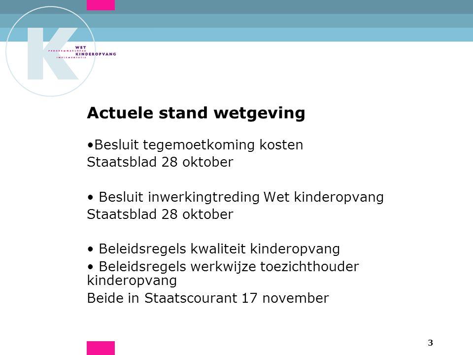 3 Actuele stand wetgeving Besluit tegemoetkoming kosten Staatsblad 28 oktober Besluit inwerkingtreding Wet kinderopvang Staatsblad 28 oktober Beleidsr