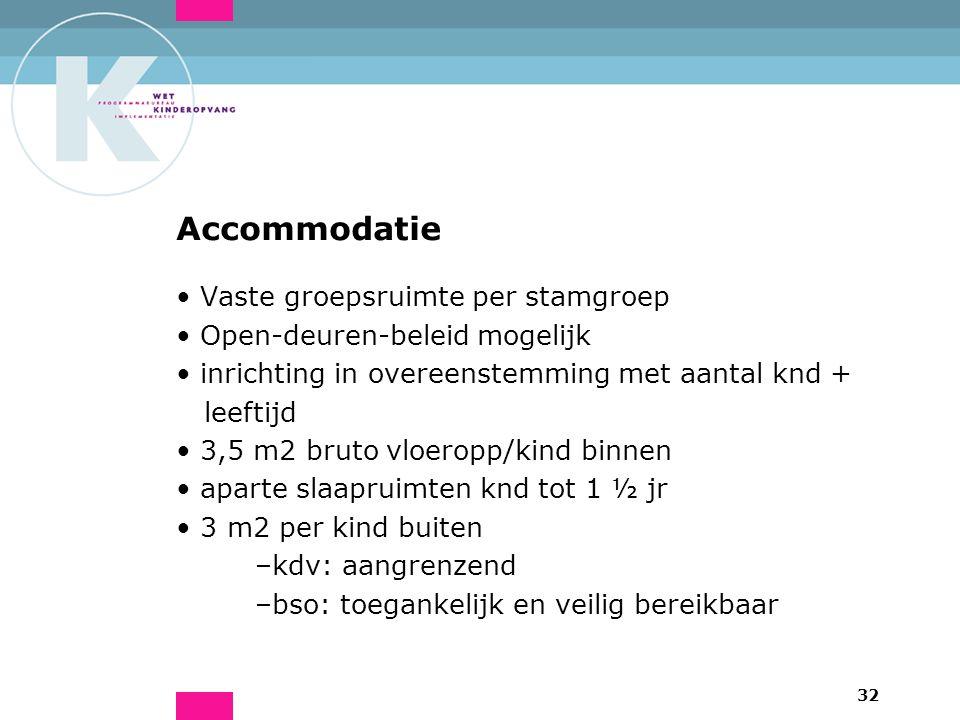 32 Accommodatie Vaste groepsruimte per stamgroep Open-deuren-beleid mogelijk inrichting in overeenstemming met aantal knd + leeftijd 3,5 m2 bruto vloe