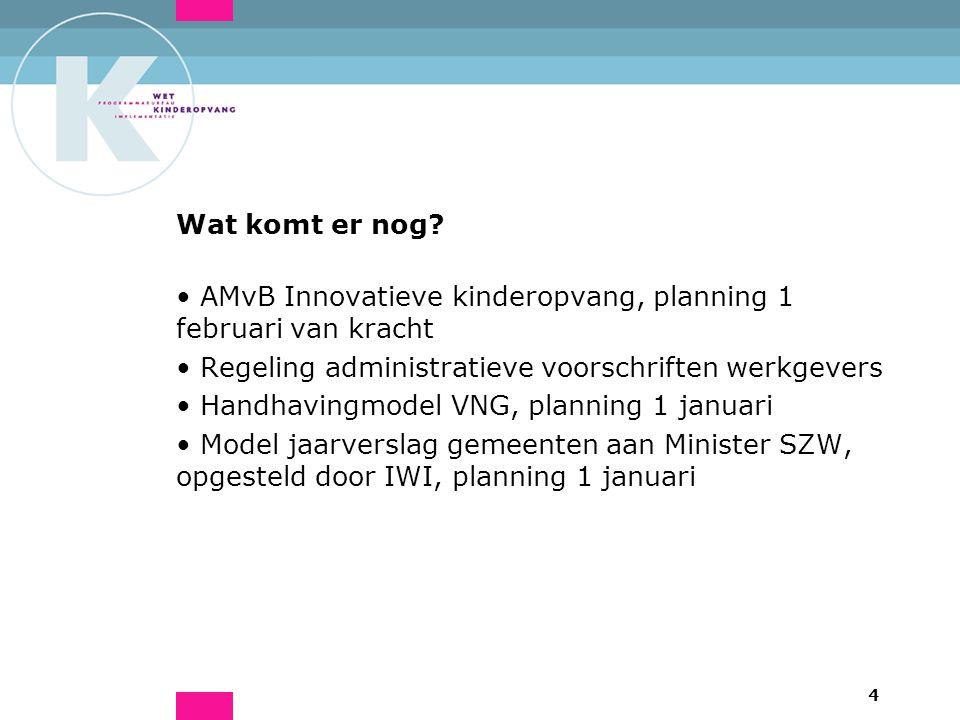 4 Wat komt er nog? AMvB Innovatieve kinderopvang, planning 1 februari van kracht Regeling administratieve voorschriften werkgevers Handhavingmodel VNG