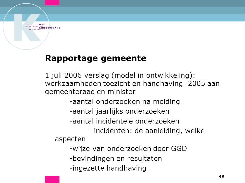 48 Rapportage gemeente 1 juli 2006 verslag (model in ontwikkeling): werkzaamheden toezicht en handhaving 2005 aan gemeenteraad en minister -aantal ond