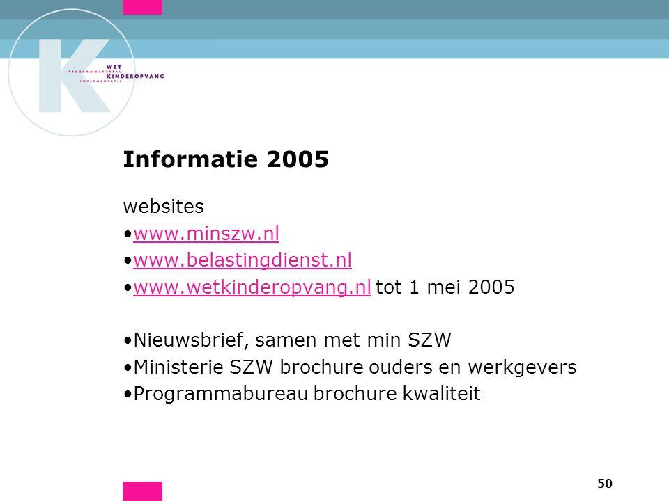 50 Informatie 2005 websites www.minszw.nl www.belastingdienst.nl www.wetkinderopvang.nl tot 1 mei 2005www.wetkinderopvang.nl Nieuwsbrief, samen met min SZW Ministerie SZW brochure ouders en werkgevers Programmabureau brochure kwaliteit