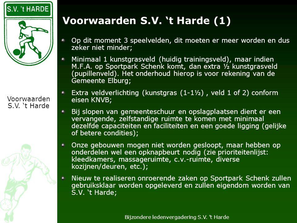 Bijzondere ledenvergadering S.V. t Harde Voorwaarden S.V.