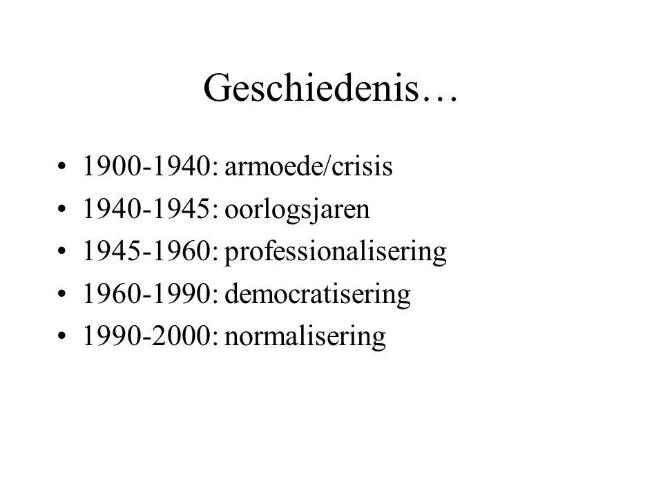 Geschiedenis… 1900-1940: armoede/crisis 1940-1945: oorlogsjaren 1945-1960: professionalisering 1960-1990: democratisering 1990-2000: normalisering
