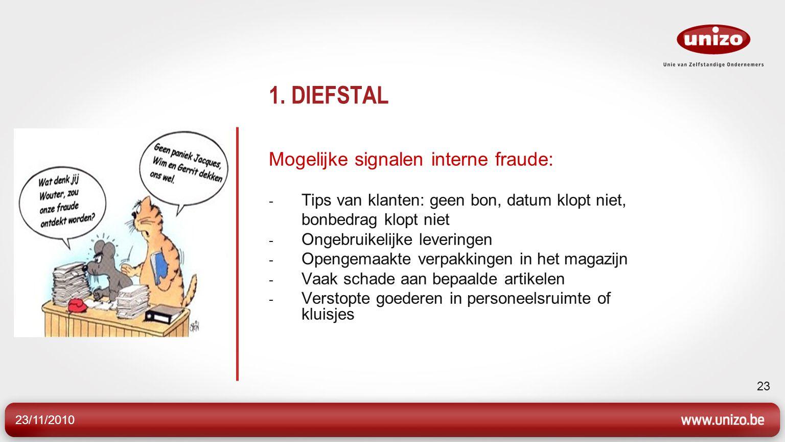 23/11/2010 23 1. DIEFSTAL Mogelijke signalen interne fraude: - Tips van klanten: geen bon, datum klopt niet, bonbedrag klopt niet - Ongebruikelijke le