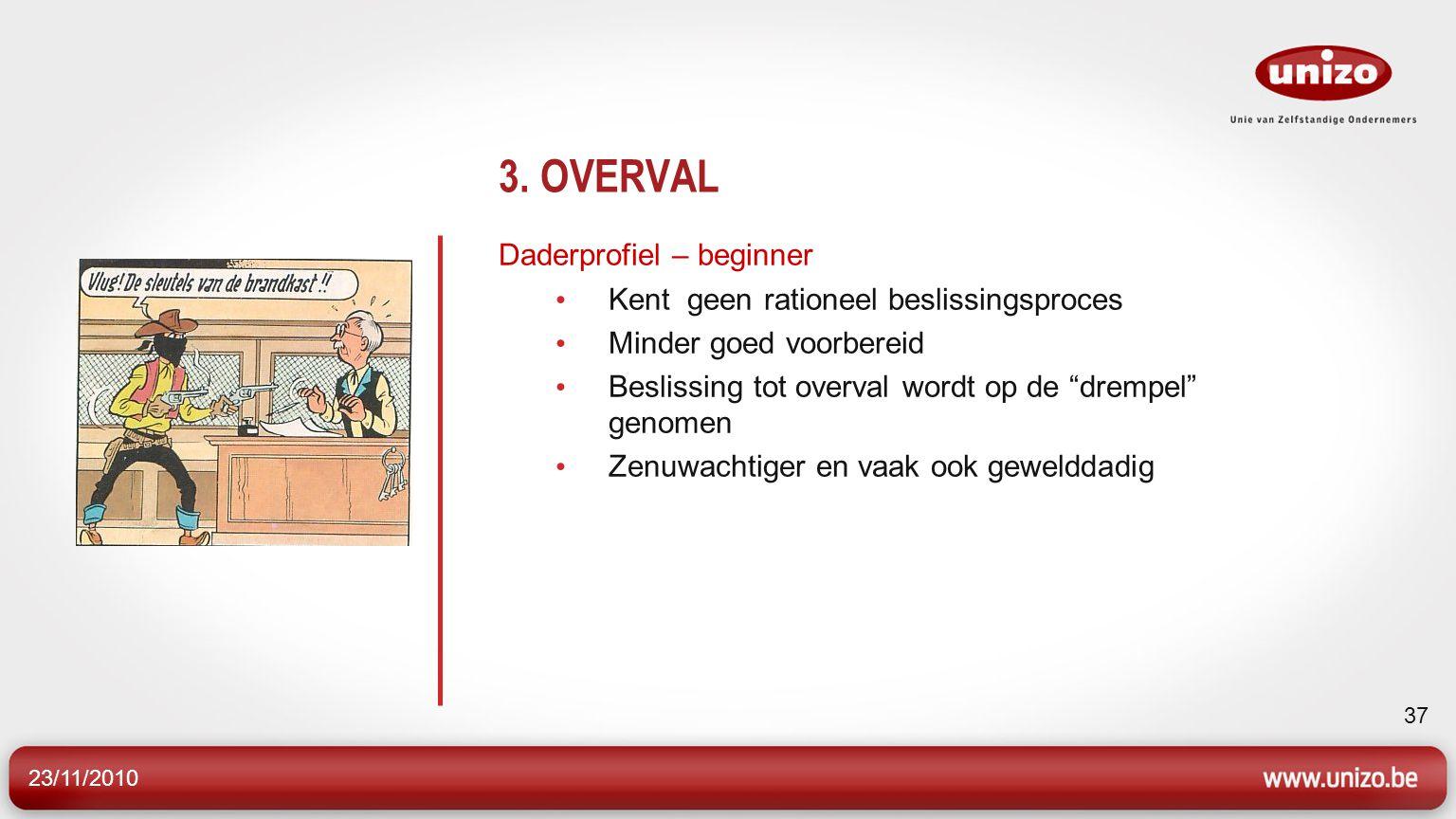 """23/11/2010 37 3. OVERVAL Daderprofiel – beginner Kent geen rationeel beslissingsproces Minder goed voorbereid Beslissing tot overval wordt op de """"drem"""