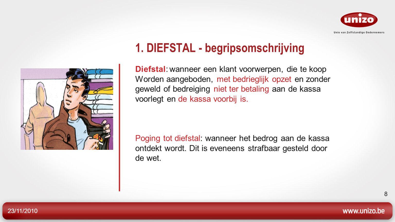23/11/2010 8 1. DIEFSTAL - begripsomschrijving Diefstal: wanneer een klant voorwerpen, die te koop Worden aangeboden, met bedrieglijk opzet en zonder