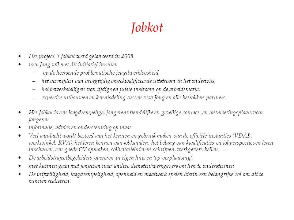 Jobkot Het project 't Jobkot werd gelanceerd in 2008 vzw Jong wil met dit initiatief inzetten – op de heersende problematische jeugdwerkloosheid, –het