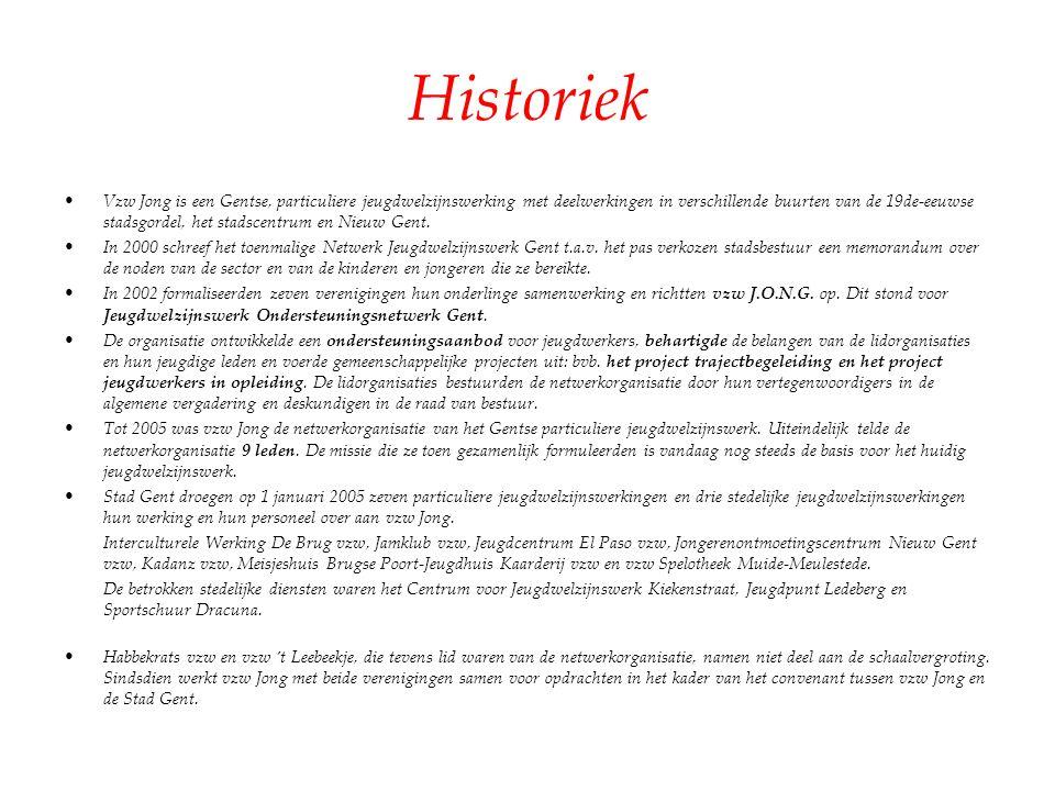 Historiek Vzw Jong is een Gentse, particuliere jeugdwelzijnswerking met deelwerkingen in verschillende buurten van de 19de-eeuwse stadsgordel, het sta