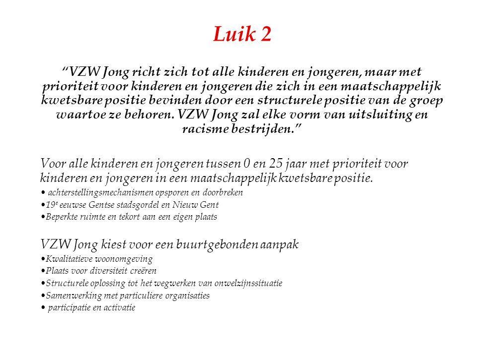 """Luik 2 """"VZW Jong richt zich tot alle kinderen en jongeren, maar met prioriteit voor kinderen en jongeren die zich in een maatschappelijk kwetsbare pos"""