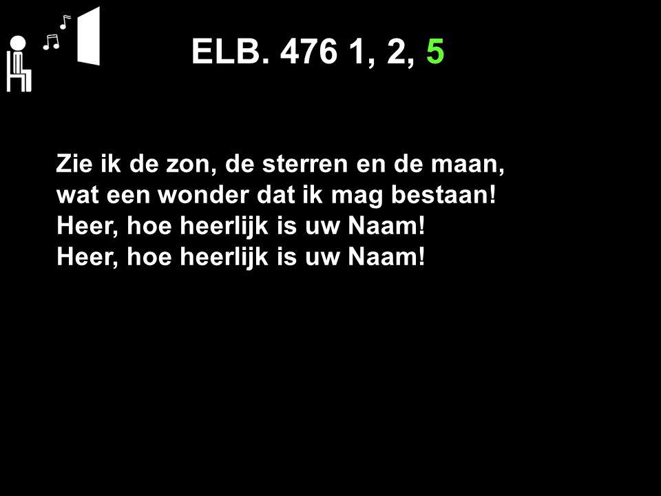 ELB. 476 1, 2, 5 Zie ik de zon, de sterren en de maan, wat een wonder dat ik mag bestaan.