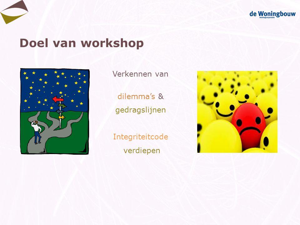 Doel van workshop Verkennen van dilemma's & gedragslijnen Integriteitcode verdiepen