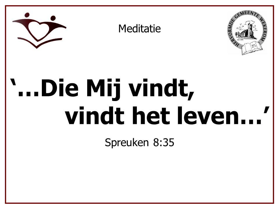 Meditatie '…Die Mij vindt, v vindt het leven…' Spreuken 8:35