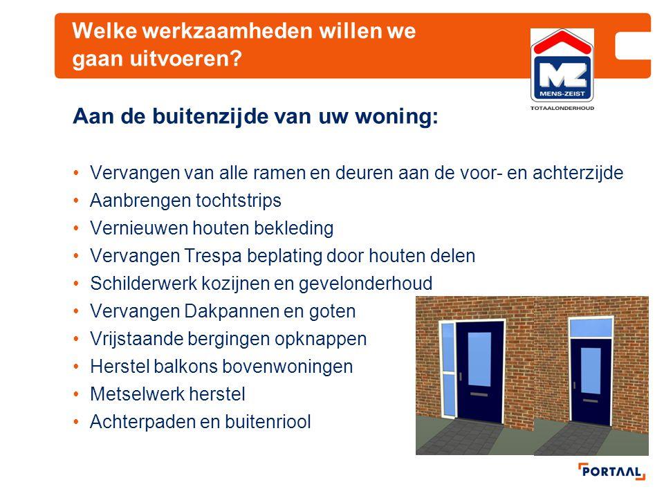Welke werkzaamheden willen we gaan uitvoeren? Aan de buitenzijde van uw woning: Vervangen van alle ramen en deuren aan de voor- en achterzijde Aanbren