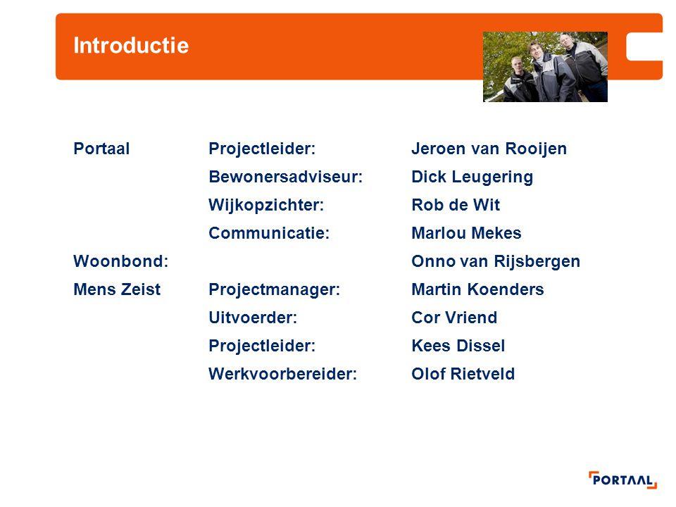Introductie PortaalProjectleider:Jeroen van Rooijen Bewonersadviseur:Dick Leugering Wijkopzichter:Rob de Wit Communicatie: Marlou Mekes Woonbond:Onno