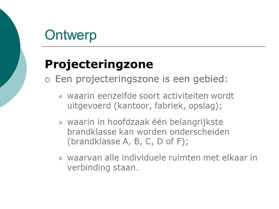 Ontwerp Projecteringzone  Een projecteringszone is een gebied: waarin eenzelfde soort activiteiten wordt uitgevoerd (kantoor, fabriek, opslag); waari