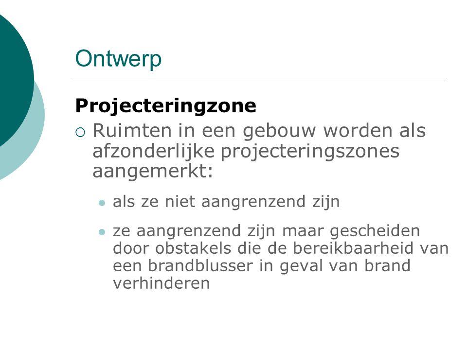Ontwerp Projecteringzone  Ruimten in een gebouw worden als afzonderlijke projecteringszones aangemerkt: als ze niet aangrenzend zijn ze aangrenzend z