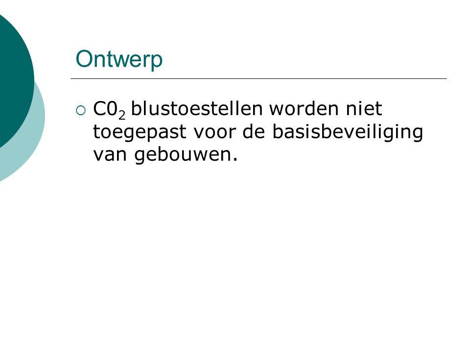 Ontwerp  C0 2 blustoestellen worden niet toegepast voor de basisbeveiliging van gebouwen.